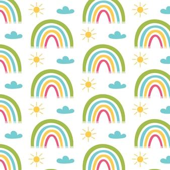 Nuvole di sole con motivo arcobaleno colorato