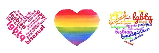 Colorato arcobaleno orgoglio a forma di cuore tagcloud isolati su sfondo bianco. illustrazione con parole