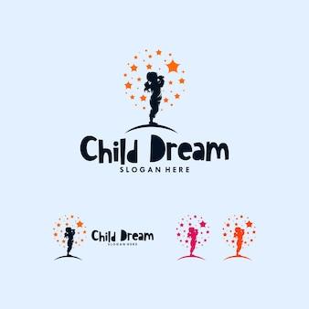 Modello di progettazione logo colorato raggiungendo sogni