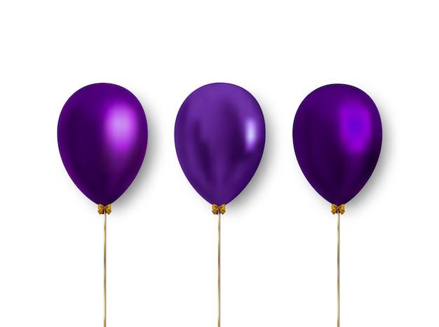 Palloncini colorati realistici di colore viola isolati