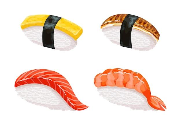 Cibo giapponese realistico colorato con diversi sushi e panini.