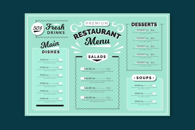 Modello di menu ristorante colorato Vettore Premium