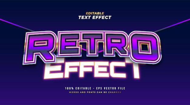 Stile di testo retrò colorato ed effetto neon incandescente. effetto stile testo modificabile