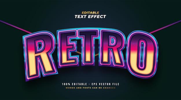 Stile di testo retrò colorato con effetto 3d e curvo. effetto stile testo modificabile