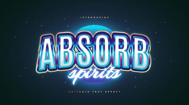 Stile di testo retrò colorato con effetto neon blu incandescente. effetto stile testo modificabile
