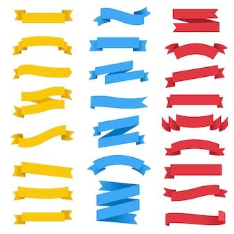 Nastro colorato impostato su sfondo bianco con maglia di gradiente, illustrazione vettoriale