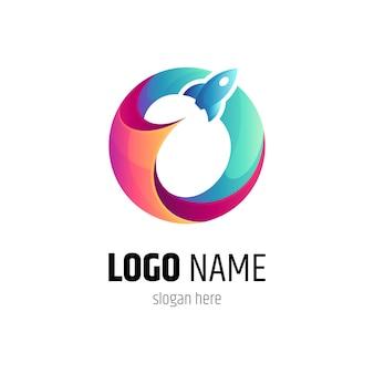 Logo colorato di orbita del razzo