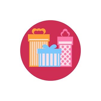 Scatole regalo colorate con icone rotonde, illustrazione vettoriale