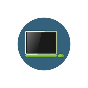 Computer portatile colorato dell'icona rotonda, taccuino dell'icona con il mouse, illustrazione di vettore