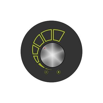 Controllo del volume dell'icona rotonda colorata, icona del controllo dell'alimentazione, illustrazione vettoriale