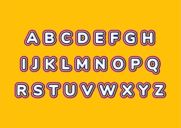 Insieme di alfabeto di bambini arrotondati colorati