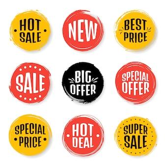 Tag di vendita colorati in stile grunge set di tag