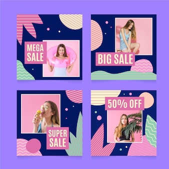Post di instagram colorato di vendita