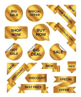 Collezione di etichette colorate di vendita