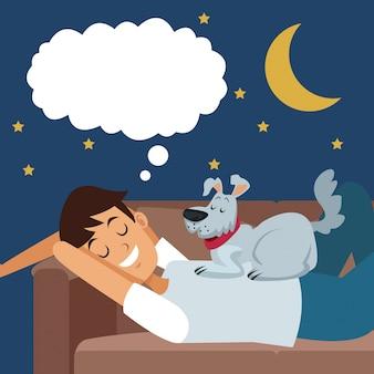 Ragazzo di scena colorato sognando nel divano di notte con cane da compagnia oltre