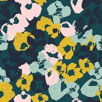 Collage di intestazione di sfondo colorato modello senza cuciture con diverse forme e trame di fiori
