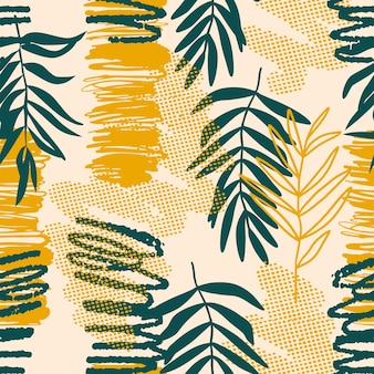Collage di intestazione di sfondo colorato modello senza cuciture con diverse forme e trame di foglie