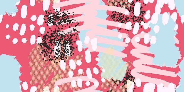 Collage di intestazione di sfondo colorato modello senza cuciture con diverse forme e trame