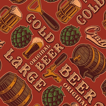 Un modello colorato senza soluzione di continuità per il tema della birra in stile vintage