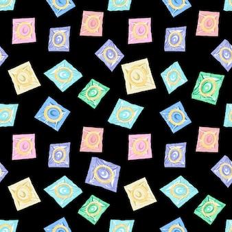 Modello senza cuciture colorato di preservativi illustrazione vettoriale
