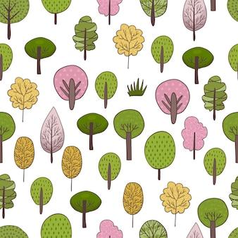 Modello senza cuciture colorato di diversi alberi e cespugli. illustrazione della foresta di vettore su priorità bassa bianca. stile piatto semplice del fumetto.