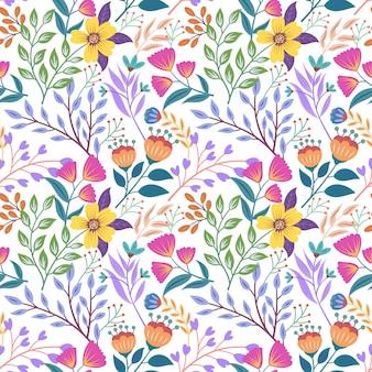 Modello senza cuciture colorato con disegno floreale botanico
