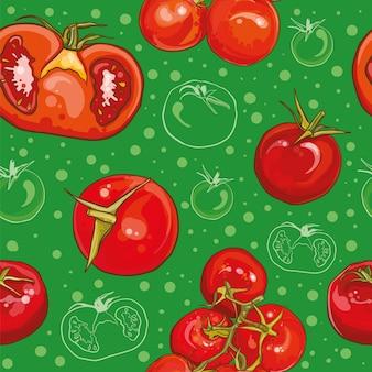 Modello senza cuciture colorato con pomodori freschi luminosi. pomodoro singolo, pomodorini, pomodori su un ramo, mezzo pomodoro.