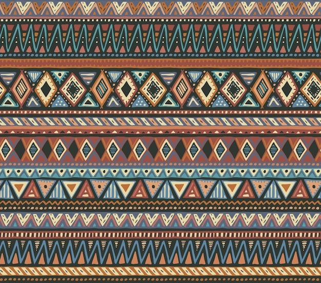 Modello senza cuciture colorato con elementi etnici disegnati a mano