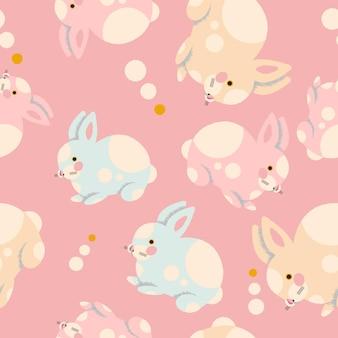Modello senza cuciture colorato con conigli disegnati a mano. illustrazione alla moda nel vettore.