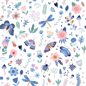 Modello senza cuciture colorato con insetti e fiori.