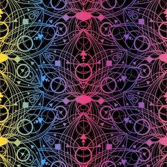 Modello senza cuciture colorato con contorno di fiori di loto su sfondo nero. ornamento lineare geometrico di lusso bellissimo sfondo. fiori di loto dorati. modello vintage illustrazione vettoriale