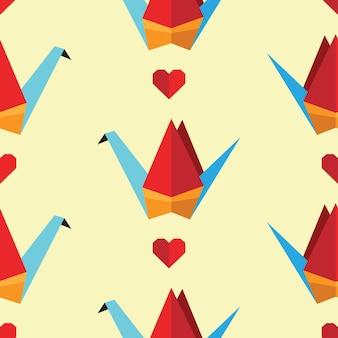 Modello senza cuciture colorato con uccelli origami. può essere utilizzato per lo sfondo del desktop o la cornice per appendere a parete o poster, per riempimenti a motivo, trame di superfici, sfondi di pagine web, tessuti e altro
