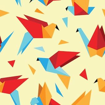 Modello senza cuciture colorato con uccelli origami.
