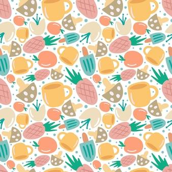 Modello vettoriale senza cuciture colorato con vari frutti e tazza sullo sfondo