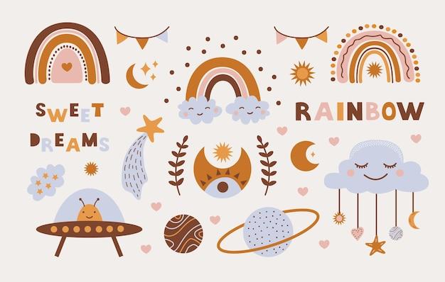 Set colorato di simpatici elementi boho per bambini disegnati a mano doodle e scritte