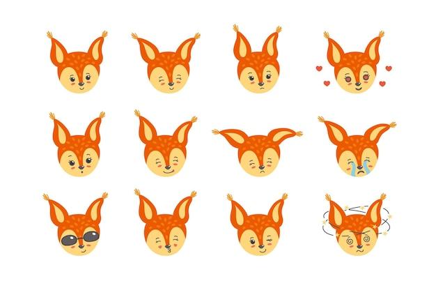 Insieme variopinto di emozioni. carino, felice, triste, divertito, piangente e altre espressioni di scoiattolo. illustrazione vettoriale in stile piatto