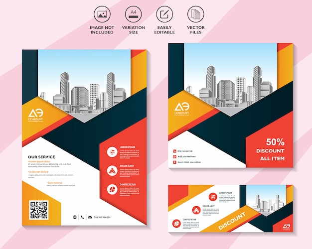 Set colorato di volantini o brochure banner con offerta di sconto sul social media marketing