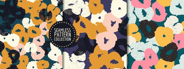 Set colorato di collage di intestazioni di sfondi senza cuciture con diverse forme e trame