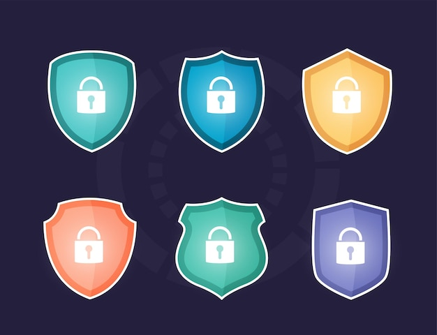 Scudo colorato di sicurezza dei dati globali, sicurezza dei dati informatici online, idea di sicurezza e protezione internet,
