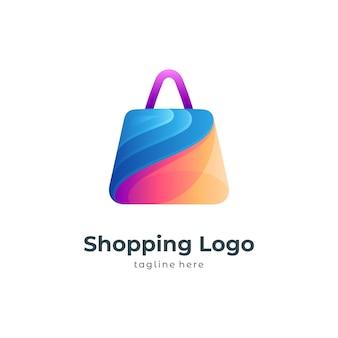 Modello di logo colorato shopping bag