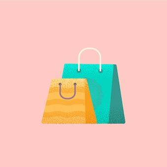 Borse per la spesa colorate. illustrazione vettoriale piatta
