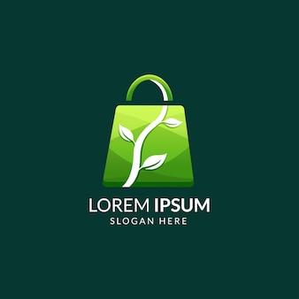 Logo dello shopping colorato con concetto di borsa e foglia