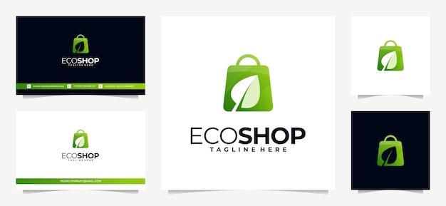 Logo dello shopping colorato, con concetto di borsa e foglia