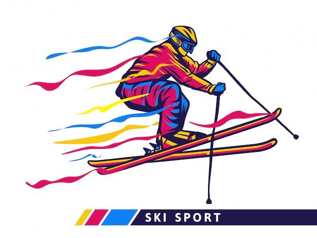 Illustrazione variopinta di sport dello sci con il volo dello sciatore