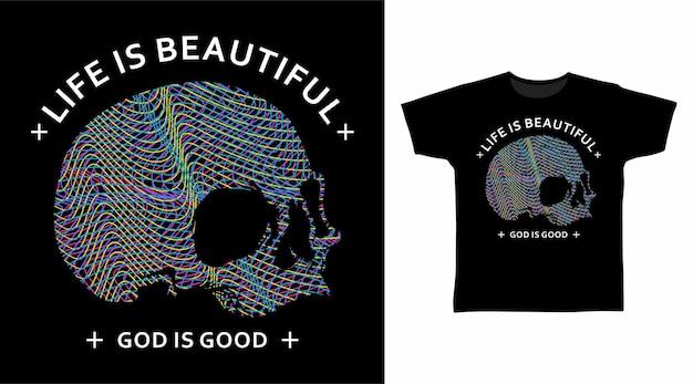 Linea arte colorata della testa del teschio per il design della maglietta