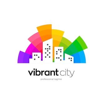 Design colorato del logo della città intelligente