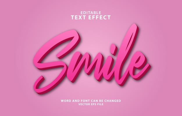 Effetto di testo modificabile 3d con sorriso colorato