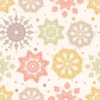 Seamless pattern di fiocchi di neve colorati