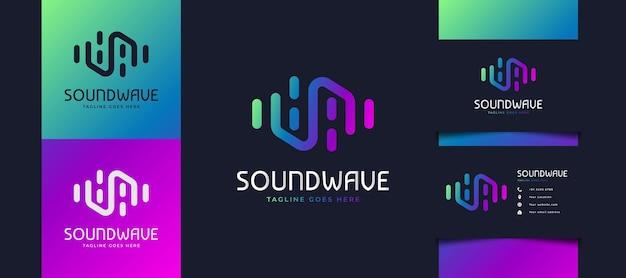 Design colorato del logo dell'onda sonora, adatto per lo studio musicale o loghi tecnologici. modello di progettazione del logo dell'equalizzatore