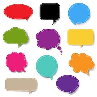 Bolla di discorso colorato set isolato sfondo bianco